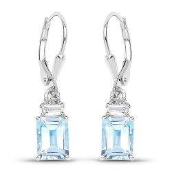 3.55 Carat Genuine Blue Topaz and White Topaz .925 Sterling Silver Earrings