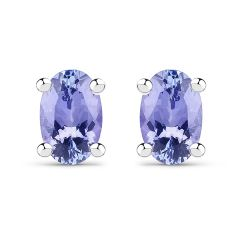 0.88 Carat Genuine Tanzanite .925 Sterling Silver Earrings