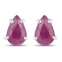 14K White Gold Plated 0.90 Carat Genuine Ruby Sterling Silver Earrings