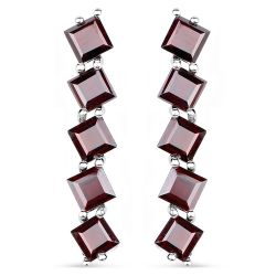 7.50 Carat Genuine Garnet .925 Sterling Silver Earrings