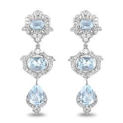 9.23 Carat Genuine Blue Topaz and White Topaz .925 Sterling Silver Earrings