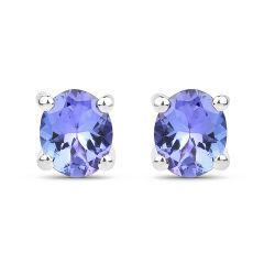 0.66 Carat Genuine Tanzanite .925 Sterling Silver Earrings