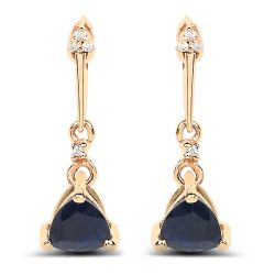 0.92 Carat Genuine Blue Sapphire and White Diamond 14K Yellow Gold Earrings