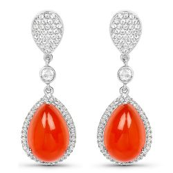 11.70 Carat Genuine Carnelian And White Topaz .925 Sterling Silver Earrings