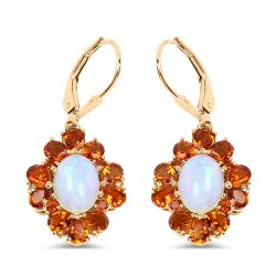 """14K Yellow Gold Plated 5.42 Carat Genuine Ethiopian Opal, Citrine and White Topaz .925 Sterling Silver Earrings"""