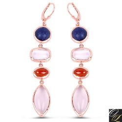 14K Rose Gold Plated 30.55 Carat Genuine Multi Stone .925 Sterling Silver Earrings