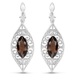 5.09 Carat Genuine Smoky Quartz And White Topaz .925 Sterling Silver Earrings