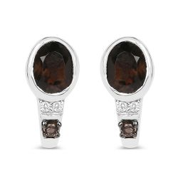 0.67 Carat Genuine Smoky Quartz and White Topaz .925 Sterling Silver Earrings