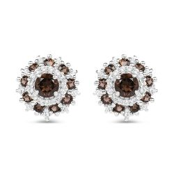 1.29 Carat Genuine Smoky Quartz and White Topaz .925 Sterling Silver Earrings