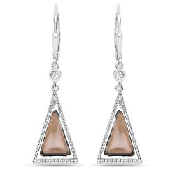 2.88 Carat Genuine Smoky Quartz and White Topaz .925 Sterling Silver Earrings