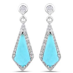 3.15 Carat Genuine Turquoise and White Topaz .925 Sterling Silver Earrings
