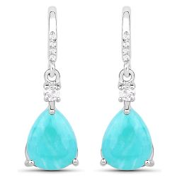 3.78 Carat Genuine Amazonite and White Topaz .925 Sterling Silver Earrings