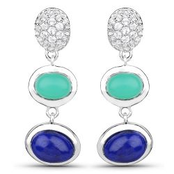 """5.21 Carat Genuine Crysopharse, Lapis and White Topaz .925 Sterling Silver Earrings"""
