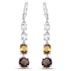 """6.28 Carat Genuine Crystal Quartz, Champagne Quartz and Smoky Quartz .925 Sterling Silver Earrings"""
