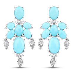 9.67 Carat Genuine Turquoise and White Topaz .925 Sterling Silver Earrings