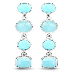 3.91 Carat Genuine Turquoise and Amazonite .925 Sterling Silver Earrings