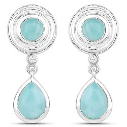 3.13 Carat Genuine Amazonite and White Topaz .925 Sterling Silver Earrings