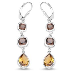 5.65 Carat Genuine Smoky Quartz and Champagne Quartz .925 Sterling Silver Earrings