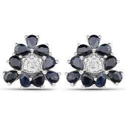 3.18 Carat Genuine Blue Sapphire and White Zircon .925 Sterling Silver Earrings
