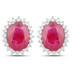 2.85 Carat Genuine Ruby and White Diamond 14K White Gold Earrings