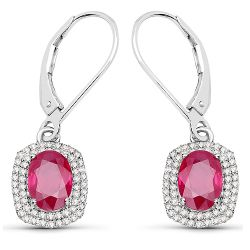 2.26 Carat Genuine Ruby and White Diamond 14K White Gold Earrings