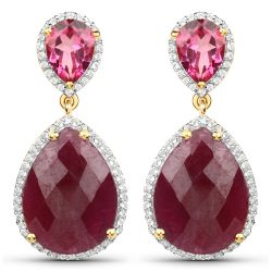 18K Yellow Gold Plated 19.34 Carat Genuine Ruby, Pink Topaz and White Topaz .925 Sterling Silver Earrings