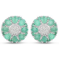 2.88 Carat Genuine Emerald and White Topaz .925 Sterling Silver Earrings