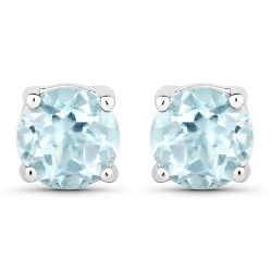 1.20 Carat Genuine Blue Topaz .925 Sterling Silver Earrings