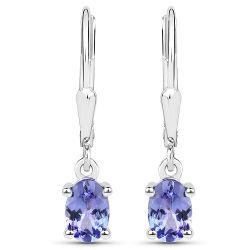 1.20 Carat Genuine Tanzanite .925 Sterling Silver Earrings