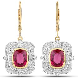 4.41 Carat Genuine Rubellite and White Diamond 14K Yellow Gold ...