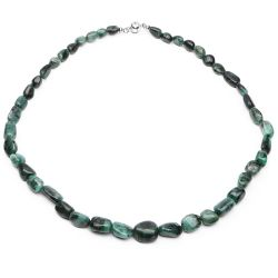 372.00 Carat Genuine Emerald .925 Sterling Silver Beads Necklace