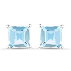 2.50 Carat Genuine Blue Topaz .925 Sterling Silver Earrings