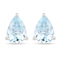 1.60 Carat Genuine Blue Topaz .925 Sterling Silver Earrings