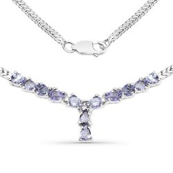 1.69 Carat Genuine Tanzanite and White Diamond .925 Sterling Silver Necklace