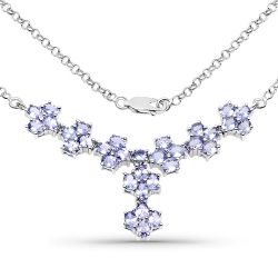 5.54 Carat Genuine Tanzanite .925 Sterling Silver Necklace
