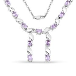 6.45 Carat Genuine Amethyst .925 Sterling Silver Necklace