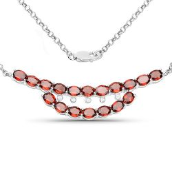 8.13 Carat Genuine Garnet and White Topaz .925 Sterling Silver Necklace