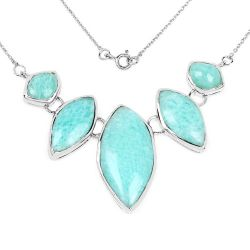 39.35 Carat Genuine Amazonite .925 Sterling Silver Necklace