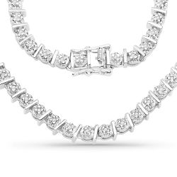 1.28 Carat Genuine White Diamond .925 Sterling Silver Necklace