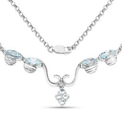 2.96 Carat Genuine Blue Topaz .925 Sterling Silver Necklace