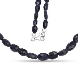 131.00 Carat Dyed Sapphire 18.25Inches Long Beaded Necklace
