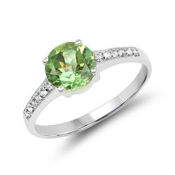 1.32 Carat Genuine Peridot & White Topaz .925 Sterling Silver Ring
