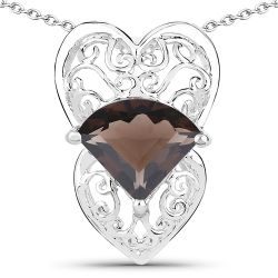 6.80 Carat Genuine Smoky Quartz .925 Sterling Silver Pendant