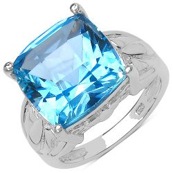 10.30 Carat Genuine Swiss Blue Topaz .925 Sterling Silver Ring