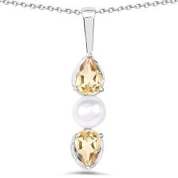 1.44 Carat Genuine Citrine and Pearl .925 Sterling Silver Pendant