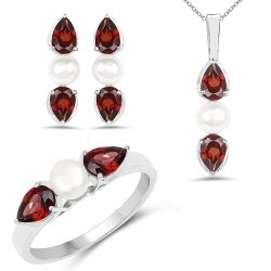 6.16 Carat Genuine Garnet and Pearl .925 Sterling Silver Ring, Pendant & Earrings Set
