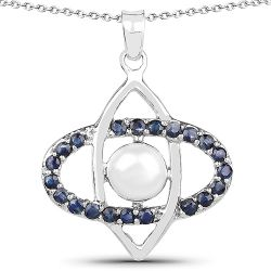 2.90 Carat Genuine Pearl and Blue Sapphire .925 Sterling Silver Pendant
