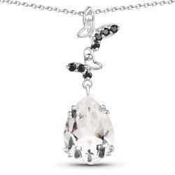 7.61 Carat Genuine Crystal Quartz & Black Spinel .925 Sterling Silver Pendant