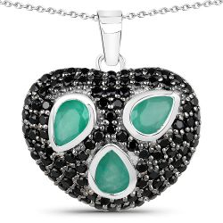 3.10 Carat Genuine Emerald & Black Spinel .925 Sterling Silver Pendant