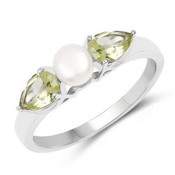 1.44 Carat Genuine Peridot and Pearl .925 Sterling Silver Ring